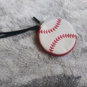 Betse Johnson BASEBALL coin purse zipper wristlet